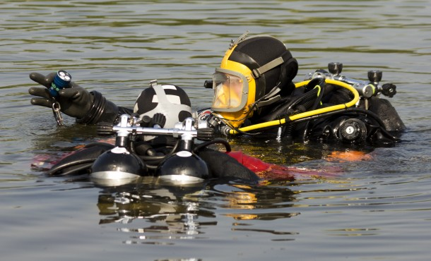 military diver in action